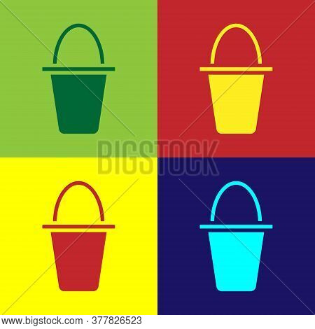Pop Art Fishing Bucket Icon Isolated On Color Background. Fish In A Bucket. Vector