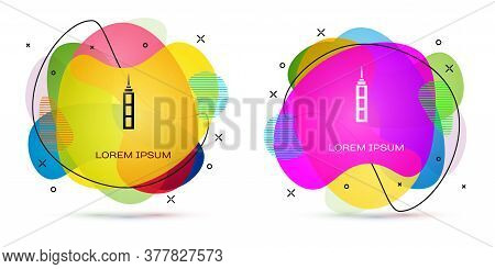 Color Skyscraper Icon Isolated On White Background. Metropolis Architecture Panoramic Landscape. Abs