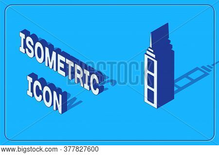 Isometric Skyscraper Icon Isolated On Blue Background. Metropolis Architecture Panoramic Landscape.