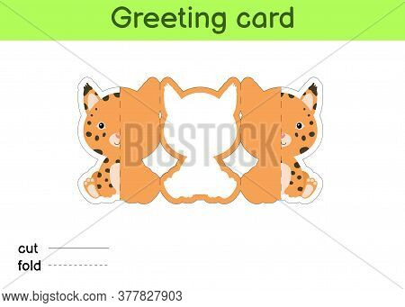 Cute Lynx Fold-a-long Greeting Card Template. Great For Birthdays, Baby Showers, Themed Parties. Pri