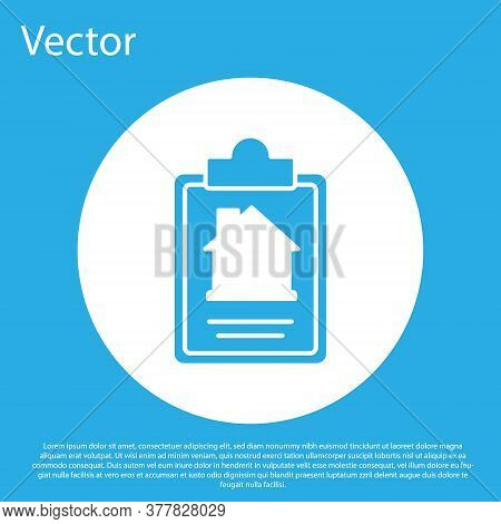 Blue House Contract Icon Isolated On Blue Background. Contract Creation Service, Document Formation,