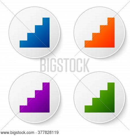 Color Staircase Icon Isolated On White Background. Set Icons In Circle Buttons. Vector