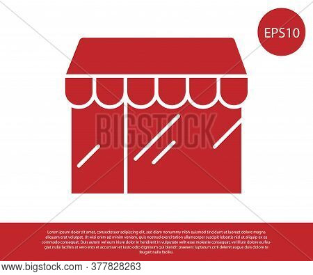 Red Shopping Building Or Market Store Icon Isolated On White Background. Shop Construction. Vector
