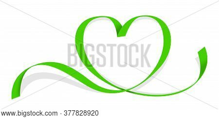 Ribbon Green Heart Shape Isolated On White, Ribbon Line Green Heart-shaped, Heart Shape Ribbon Strip
