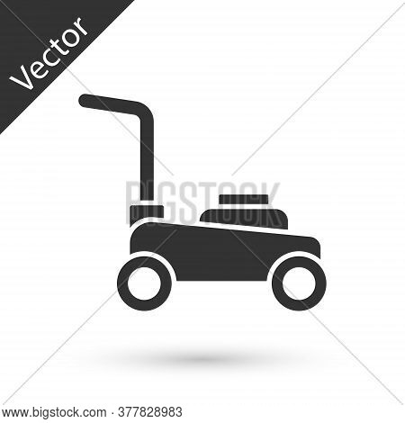 Grey Lawn Mower Icon Isolated On White Background. Lawn Mower Cutting Grass. Vector