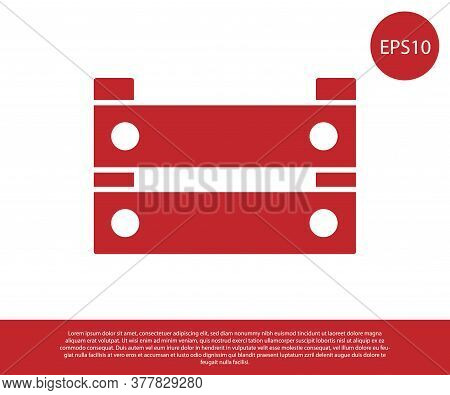 Red Wooden Box Icon Isolated On White Background. Grocery Basket, Storehouse Crate. Empty Wooden Con