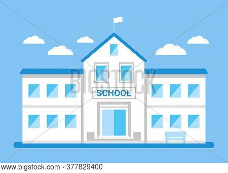 School Facade Building, White House. Back To School, Education Concept. College, University, Academy