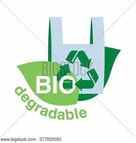 Biodegradable Plastic Stamp - Eco Friendly Sticker With Green Leaves And Pack - Isolated Ecology Pro