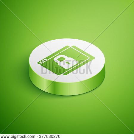 Isometric Secure Your Site With Https, Ssl Icon Isolated On Green Background. Internet Communication