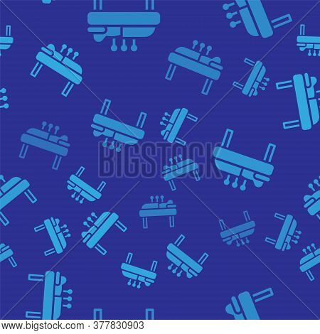 Blue Acupuncture Therapy Icon Isolated Seamless Pattern On Blue Background. Chinese Medicine. Holist