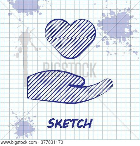 Sketch Line Heart In Hand Icon Isolated On White Background. Hand Giving Love Symbol. Valentines Day