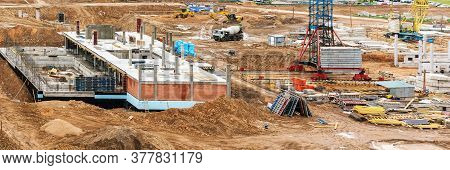 City Dwelling House Building Site With Built First Storey Machines And Crane Bottom On Ground Upper