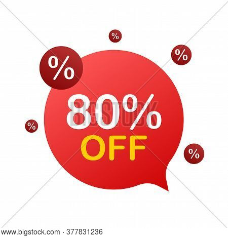 80 Percent Off Sale Discount Banner. Discount Offer Price Tag. 80 Percent Discount Promotion Flat Ic