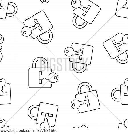 Locker Icon In Flat Style. Padlock Password Vector Illustration On White Isolated Background. Key Un