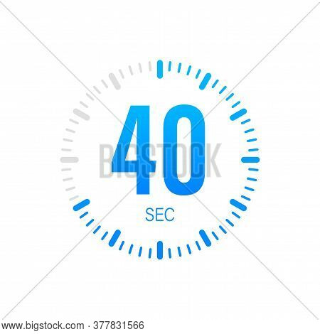 The 40 Second, Timer, Stopwatch Vector Icon. Stopwatch Icon In Flat Style. Vector Stock Illustration