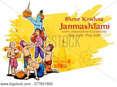 Illustration Of Lord Krishna And His Friend Stealing Makhan From Dahi Handi Celebration In Happy Jan