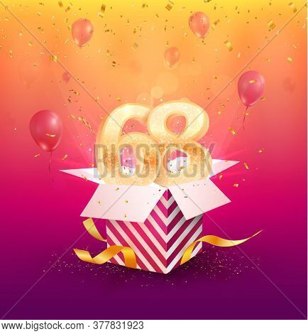 68th Years Anniversary Vector Design Element. Isolated Sixty-eight Years Jubilee With Gift Box, Ball