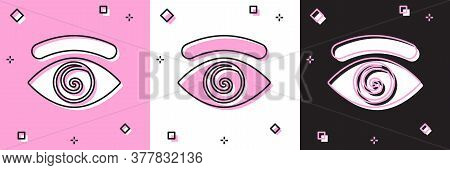 Set Hypnosis Icon Isolated On Pink And White, Black Background. Human Eye With Spiral Hypnotic Iris.