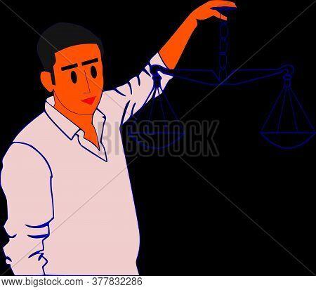 A Man Holding Scales On Hand Presenting Law Judiciary Symbolic Pattern Illustration Art Cartoon Styl