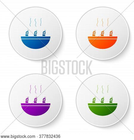 Color Soup With Shrimps Icon Isolated On White Background. Tom Yum Kung Soup. Set Icons In Circle Bu
