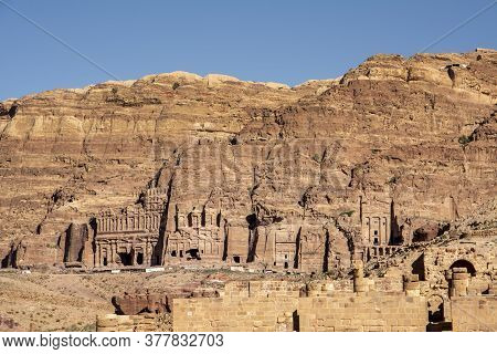 View On Tomb Wall, Palace Corinthian And Royal, In Petra, Jordan. Travel, Tourism And Archeology