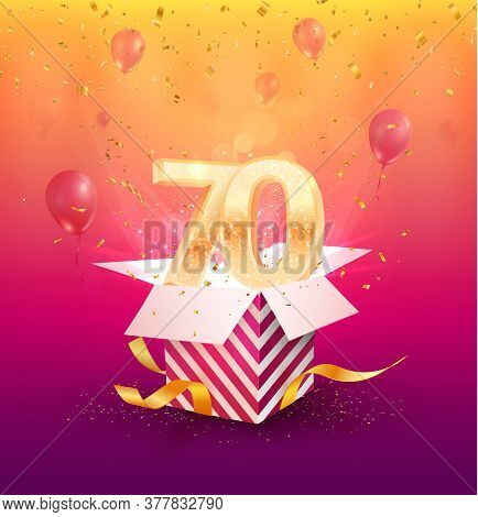 70th Years Anniversary Vector Design Element. Isolated Seventy Years Jubilee With Gift Box, Balloons