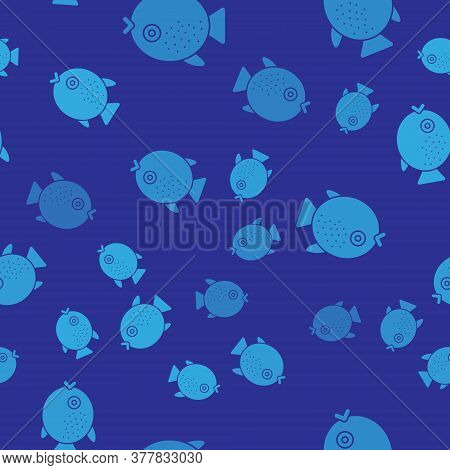 Blue Puffer Fish Icon Isolated Seamless Pattern On Blue Background. Fugu Fish Japanese Puffer Fish.