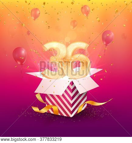 36 Th Years Anniversary Vector Design Element. Isolated Thirty-six Years Jubilee With Gift Box, Ball