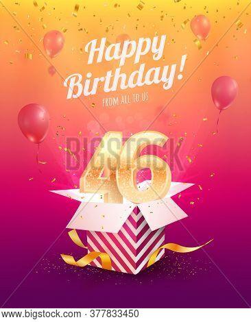 Celebrating 46th Years Birthday Vector Illustration. Forty-six Anniversary Celebration Invitation Ca