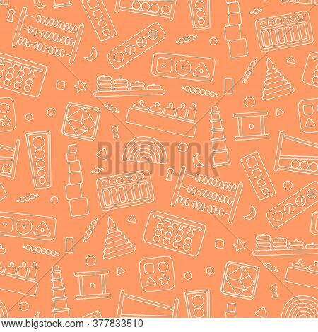 Seamless Pattern With Kid Toys For Montessori Games. Education Logic Toys For Preschool Children. Ve