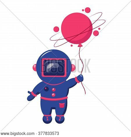 Cute Astronaut Keeps Abstract Balloon Like A Asteroid. Funny Cosmonaut.
