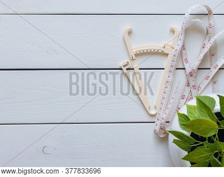 Plan To Lose Weight, Go On A Diet. Accessories For Measuring Weight, Parameters