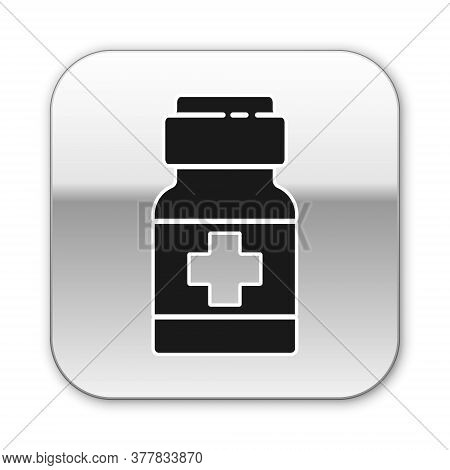 Black Medicine Bottle And Pills Icon Isolated On White Background. Medical Drug Package For Tablet,