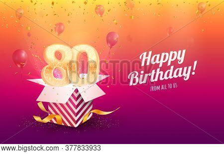 Celebrating 80th Years Birthday Vector Illustration. Eighty Anniversary Celebration Background. Adul