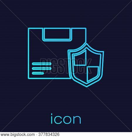 Turquoise Line Delivery Security With Shield Icon Isolated On Blue Background. Delivery Insurance. I