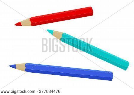 Pencil Isolated On White Background. Three Realistic Colored Pencil Sharpened. Colored Crayons Set L