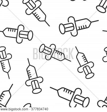 Syringe Icon In Flat Style. Inject Needle Vector Illustration On White Isolated Background. Drug Dos