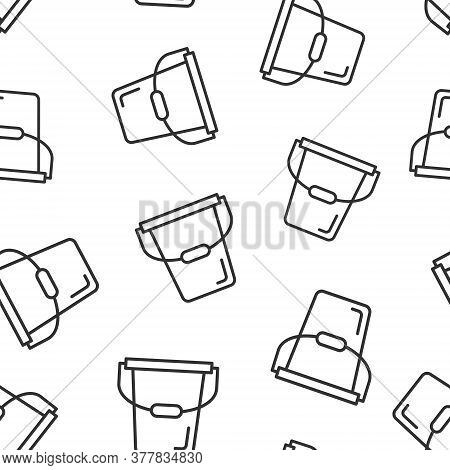 Bucket Icon In Flat Style. Garbage Pot Vector Illustration On White Isolated Background. Pail Seamle