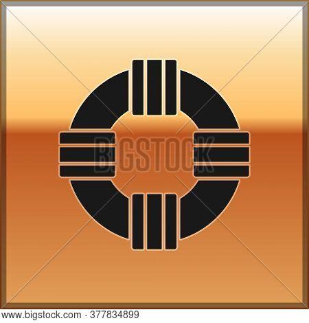 Black Lifebuoy Icon Isolated On Gold Background. Lifebelt Symbol. Vector.
