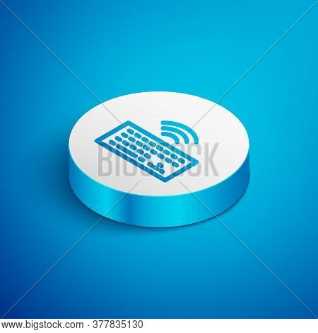 Isometric Line Wireless Computer Keyboard Icon Isolated On Blue Background. Pc Component Sign. Inter