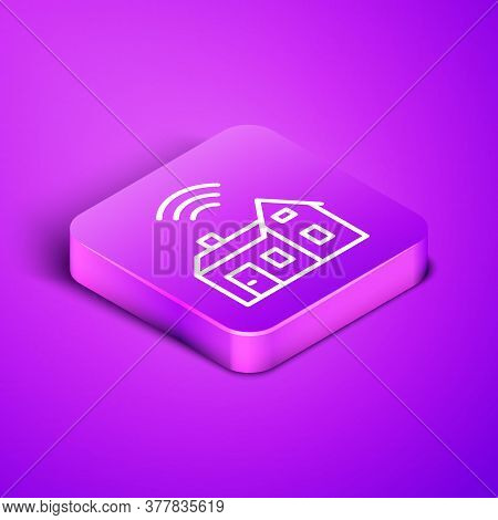 Isometric Line Smart Home With Wireless Icon Isolated On Purple Background. Remote Control. Internet