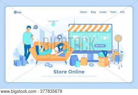 Online Store Shop. Internet Virtual Shopping, E-commerce, Digital Marketing. Woman Buy Things On The