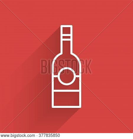 White Line Glass Bottle Of Vodka Icon Isolated With Long Shadow. Vector