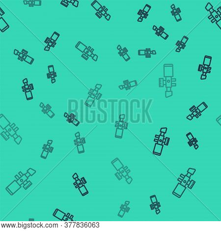 Black Line Sniper Optical Sight Icon Isolated Seamless Pattern On Green Background. Sniper Scope Cro