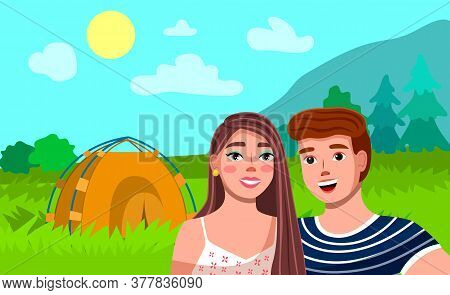 Tourist Couple Hiking Activity. Man And Woman Camping, Picnic With Modern Tent, Outdoor Recreation I