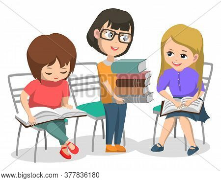 Education Of Kids Vector, Isolated Children With Books Reading And Learning New Material For Lesson.