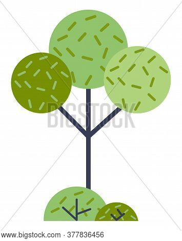 Illustration Of Cartoon Wood In Flat Style. The Tree Is Round. Abstract Green Plant. Gardening And F
