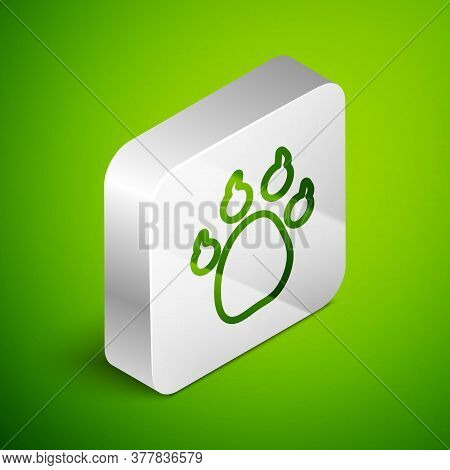 Isometric Line Paw Print Icon Isolated On Green Background. Dog Or Cat Paw Print. Animal Track. Silv