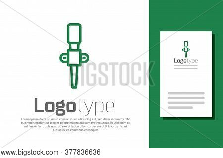 Green Line Torch Flame Icon Isolated On White Background. Symbol Fire Hot, Flame Power, Flaming And