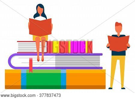 Online Library, Students Reading, Knowledge And Books Pile With Bookmarks Vector. Literature Or Text